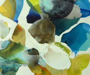 """Sea 3 48x48"""" watercolor, gouache, acrylic paint, oil pastel on canvas"""