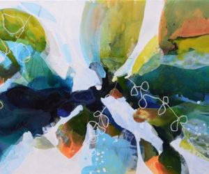 """Wave Crash 11 48x60"""" watercolor, gouache, acrylic paint, oil pastel on canvas"""