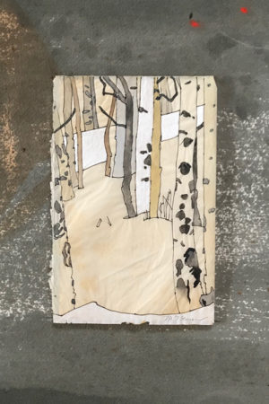 """In the Aspens 2017 watercolor, ink, gouache on antique paper 13x13"""" framed • SOLD"""