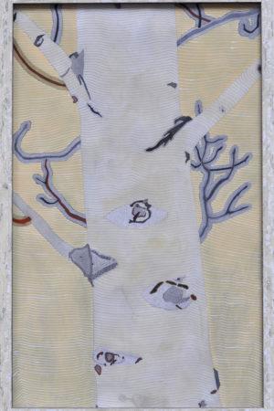"""Aspen Lines I 2015 Watercolor, Ink, & Gouache on Rives BFK 17x26.5"""" framed"""