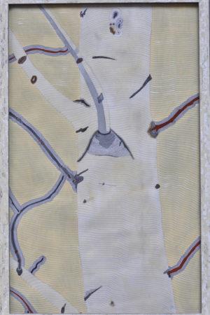 "Aspen Lines II 2015 Watercolor, Ink, & Gouache on Rives BFK 17x26.5"" framed"