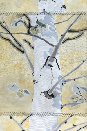 """Aspen Sunlight 2018 watercolor, ink, & gouache on Rives BFK  22x90"""" stitched"""