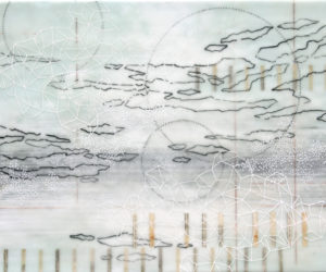 Fragment #3 2015 encaustic, paper, oil on panel 16x20""