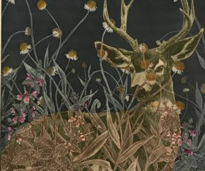 """Black-Tailed Deer in Sneezeweed and Hedge Nettle"" framed 2018 collage of aquatint etching, framed  edition 12/15 26x24"" • SOLD"