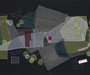 OSH, Brooklyn (Plot re-visualized) 2012 thread, fabric and paint on raw black canvas 54x32""