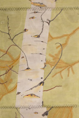 "Spring Aspen with Willow 2017 watercolor, ink, & gouache on Rives BFK  22x90"" stitched • SOLD"
