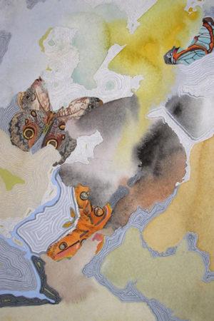 "In Between Butterflies I 2014 watercolor, ink & gouache on paper 13x17"" framed • SOLD"