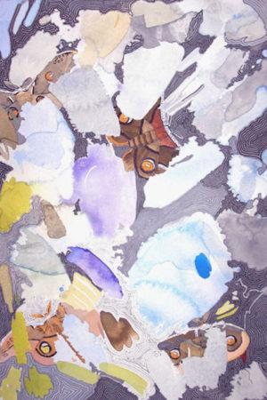 """In Between Butterflies II 2014 watercolor, ink & gouache on paper 13x17"""" framed • SOLD"""