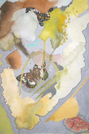 """In Between Butterflies III 2014 watercolor, ink & gouache on paper 13x17"""" framed • SOLD"""