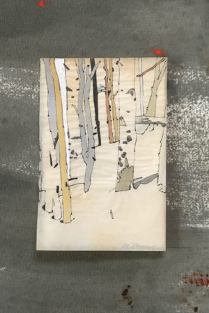 """In the Aspens III 2017 watercolor, ink, gouache on antique paper 13x13"""" framed • SOLD"""