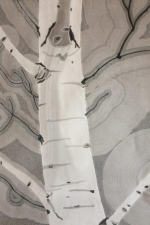 "Monotone Aspen I 2016 watercolor, ink, & gouache on Rives BFK 22x30"""