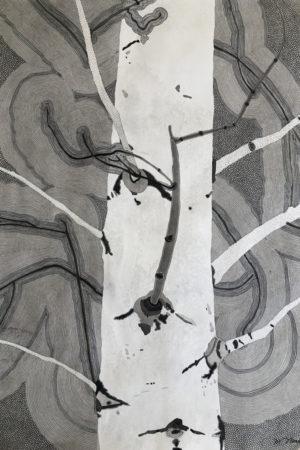 "Monotone Aspen II 2016 watercolor, ink, & gouache on Rives BFK 22x30"""
