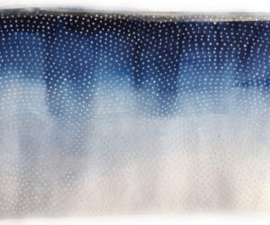 """Color Study in Cerulean Horizon  2017 watercolor on paper, latex house paint 39x24"""" framed"""