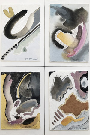 """Blessings Series (4) 2018 watercolor, ink, & gouache 5x7"""" each, mounted on wood panel"""