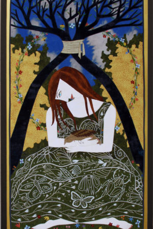 """""""A Sparrow's Fall"""" fabric appliqué, embroidery, framed 25.75"""" x 44"""""""