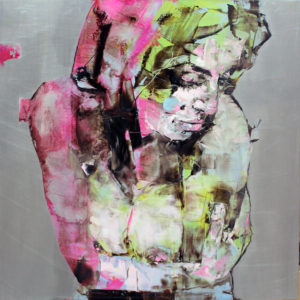 "Valentina 2015 oil, silver leaf on aluminum, framed 26x26"""