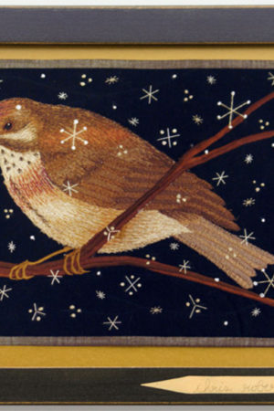 """Bird on a Branch"" fabric appliqué, embroidery, framed 15x11"""