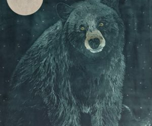 """Black Bear Moon"" 2018 Aquatint etching framed edition 1/12 37x30"""