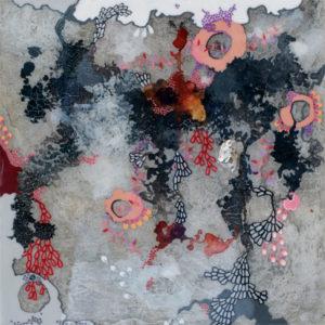 "Primavera II 2015 acrylic, silver leaf, pigment powder and resin on wood panel 12x12"""