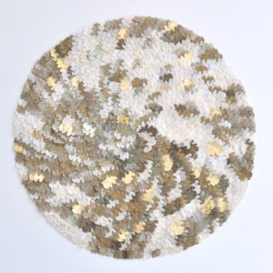 "Robelita Metalico 2017 39x39"" framed silk and pigment on linen •SOLD"