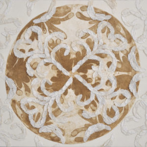 """Feather Filigree 2014 41x30"""" framed silk and pigment on linen"""