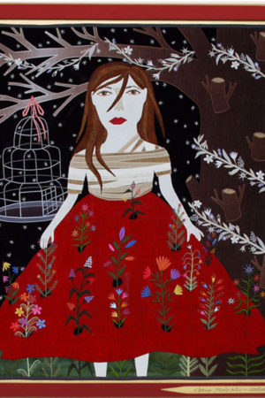 """""""Flowered Dress"""" fabric appliqué, embroidery, framed 26.5x30.5"""" • SOLD"""