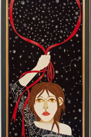 """""""Gathering Stars""""  fabric appliqué, embroidery, framed 21.5X40.5"""" • SOLD"""