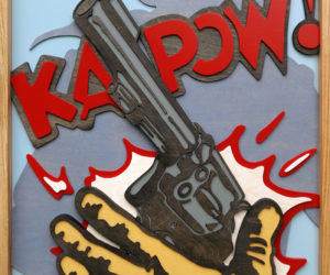 """Ka-Pow II"" 2017 29x41"" Oil Stain & Acrylic on Layered Birch"