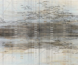 Span diptch 2016 encaustic mixed media on panel 36x96""