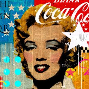 "Marilyn Coca Cola  2017 Mixed Media on Canvas 36x36"" • SOLD"