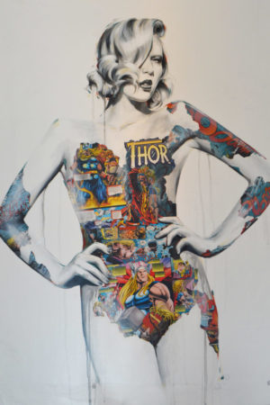 "Thor acrylic and collage on canvas 47x36"" • SOLD"