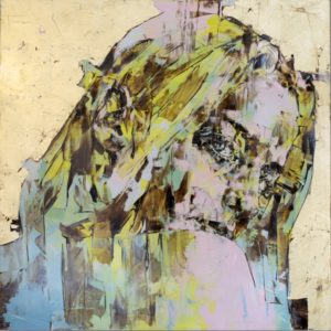 "Alessandra 2015 oil, tempera, gold leaf on aluminum 39x39"" •SOLD"