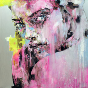 """Chantal 2014 oil, resin, silver leaf on aluminum  39x39"""" •SOLD"""
