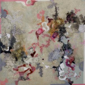 """Unbound II 2014 acrylic, silver leaf, pigment powder and resin on wood panel 24x24"""" • SOLD"""