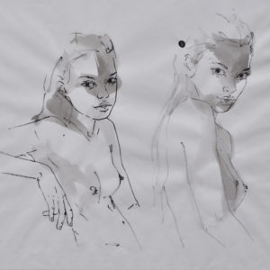 Black & White Study 2 Figures 2017 watercolor on paper, framed 19x20""