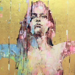 """""""Eva"""" 60x60"""" framed, oil & gold leaf on aluminum 2017"""