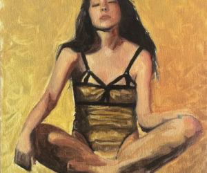 """""""Perceive Gold"""" oil on linen panel, framed 11"""" x 13"""""""