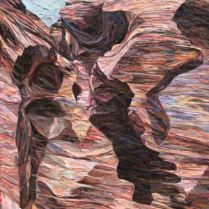 "Antelope Canyon, 20""x14"" Magazine paper on canvas, SOLD"