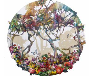 "Round Forest II 50"" Diameter, Collage and acrylic on canvas SOLD"