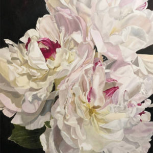 "Three Peonies, 48""x60"" Acrylic on canvas"