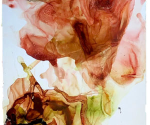 """Estuary 1,"" watercolor on mylar, 18""x64"""