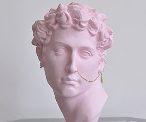 """Jules"" 2019, plaster on marble base, 18""x12"" copy of ""Giuliano de Medici"" by Michelangelo, edition of 20, available with custom color"