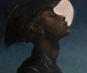"""""""Moon Dust"""" 2019, oil on panel, 9""""x11"""", framed"""