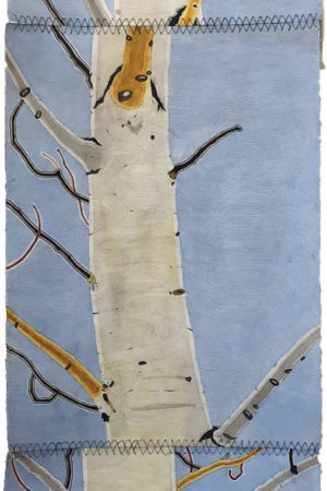 """Blue Sky Aspen"" 23""x90"", hanging three panel tapestry, ink, watercolor, and gouache on paper"