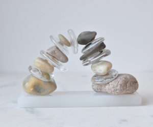 """Small Archway"" hand blown glass, river rocks, acrylic base, dimensions variable"