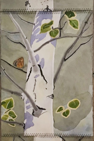 """Spring Aspen with Butterflies"" 23""x90"", hanging three-panel tapestry, ink, watercolor, and gouache on paper"