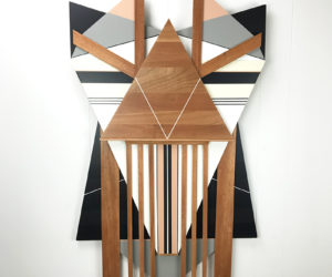 """""""Ronin"""" Mahogany, cherry, MDF, pigmented lacquer, 46""""x37"""", 2018"""