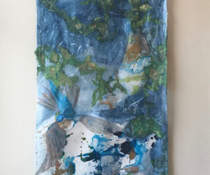 """Blue Hummingbird"" mixed media hanging, 45""x15"""