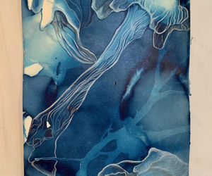 """Profusion"" color pencil on cyanotype, 12""x7"""