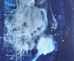 """Transit of Venus: Phase 8 Transmutation"" mixed media with cyanotype on paper, 42""x23"""
